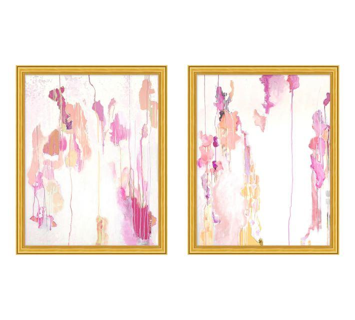Pink Drips 2 Piece Abstract Framed Painting
