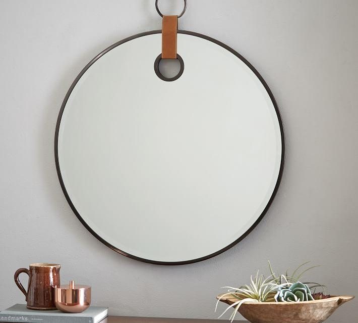 round leather mirror extra large equestrian round leather strap loop mirror