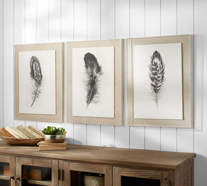 & Feather 3 Piece Framed Wall Art
