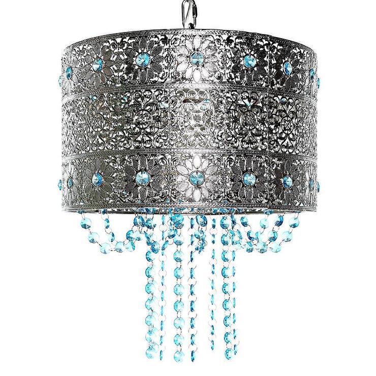 chandelier antique aqua blue crystal french