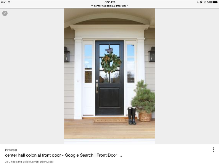 Classic Colonial White Sidelights Black Wooden Front Door