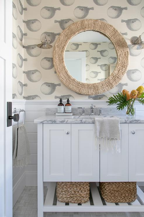 Cottage Powder Room With Vertical Shiplap Walls Cottage