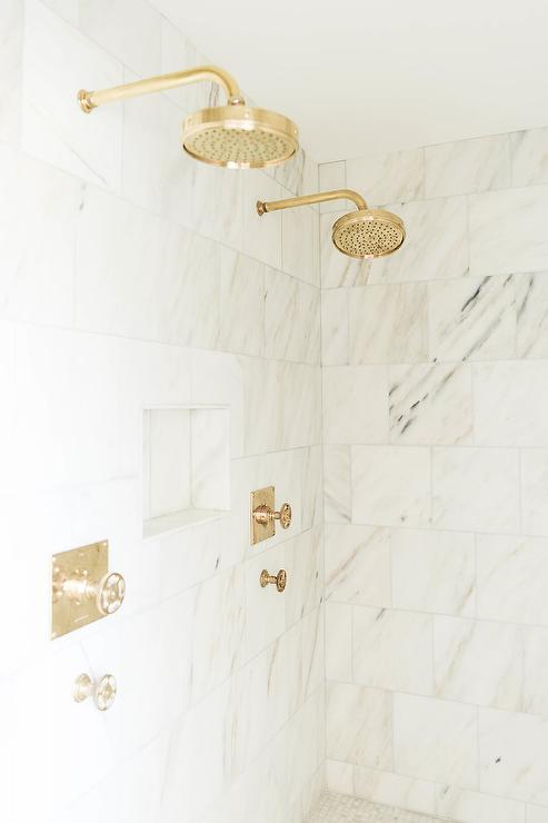 Side By Side Antique Brass Rain Shower Heads Transitional Bathroom