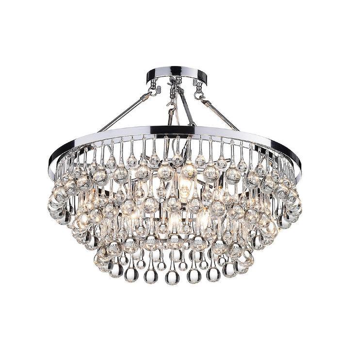 Arosa round chrome crystal droplets flush mount mozeypictures Choice Image