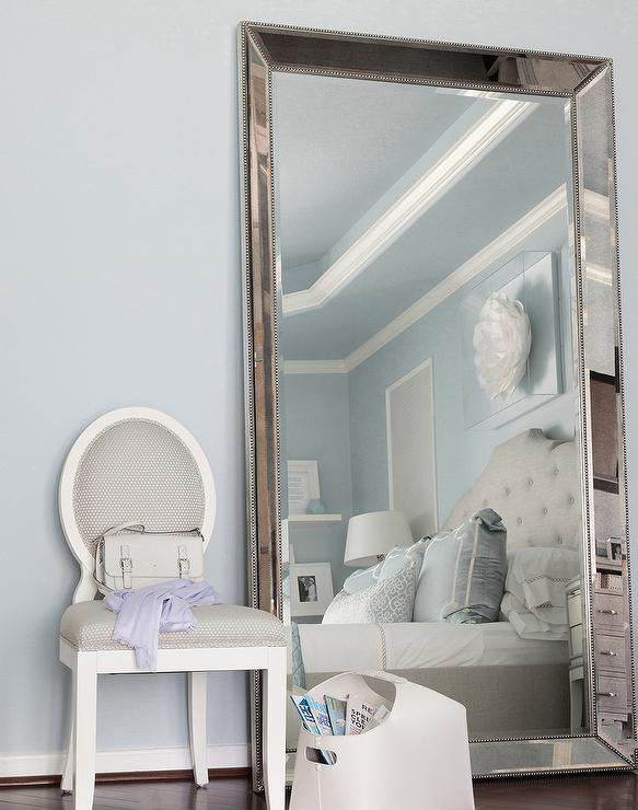 Beveled Beaded Leaning Mirror On Blue Wall Transitional