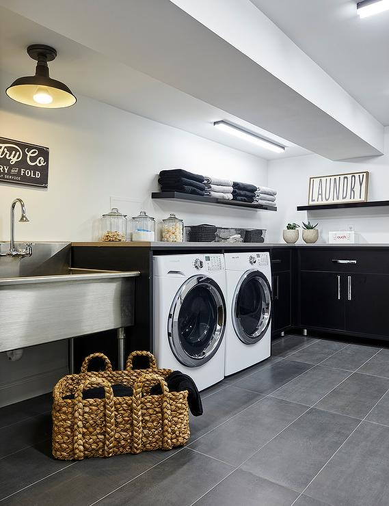 Light Gray Laundry Room Cabinets With Stainless Steel