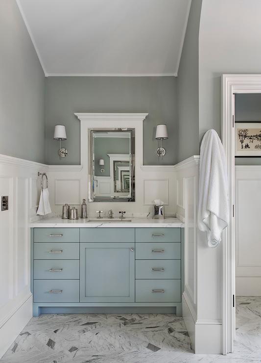 Blue Single Bath Vanity With Board And Batten Walls Transitional Bathroom
