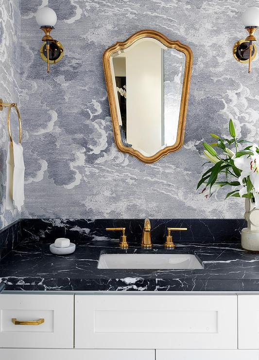 Gold Mirror Over Honed Black Marble Top Bath Vanity