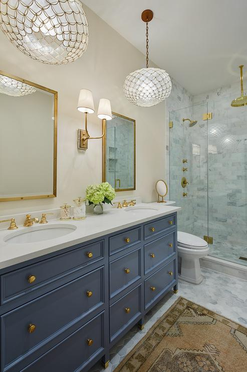 Gold Oval Mirror Contemporary Bathroom Meredith