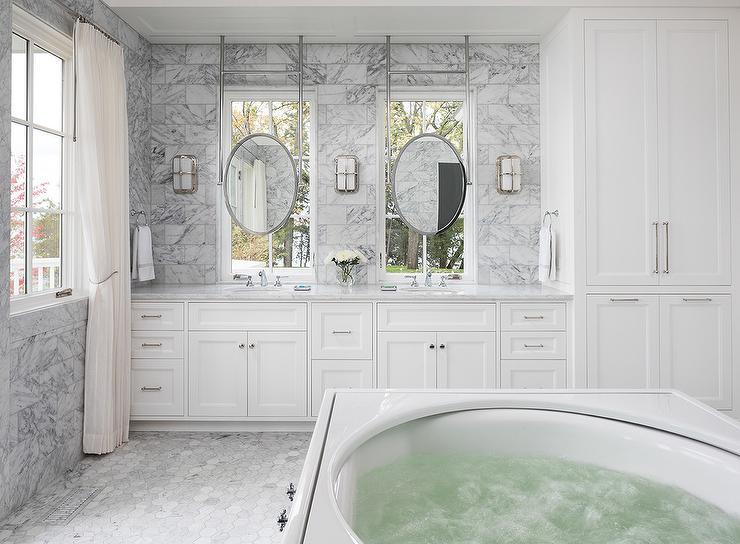 Marble Brick Floor Transitional Bathroom Elle Decor