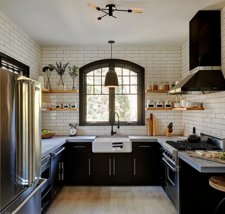Wooden Floating Shelving Over Black Cabinetry Transitional Kitchen