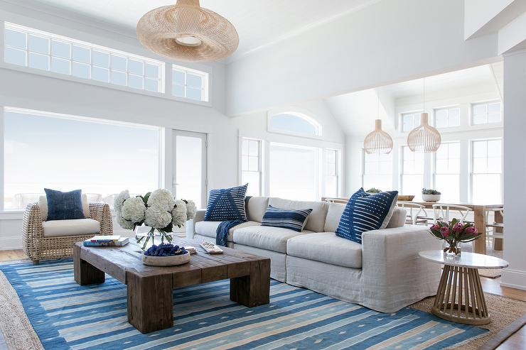 Swell Blue Striped Rug On Gray Bound Sisal Rug Cottage Living Room Pabps2019 Chair Design Images Pabps2019Com