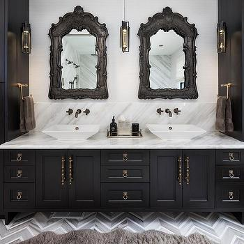 Gray oak bath vanity cabinets and drawers transitional for Baroque bathroom mirror