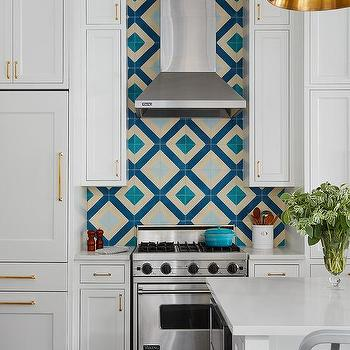 Cream And Blue Kitchen Backsplash Tiles Design Ideas