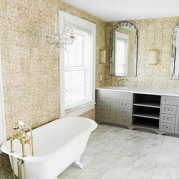 Quatrefoil mirror over oval bathtub transitional bathroom for Quatrefoil bathroom decor