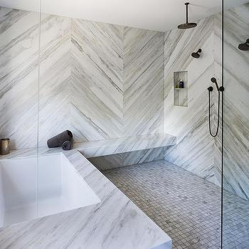 Bookmatched Marble Shower Walls Design Ideas