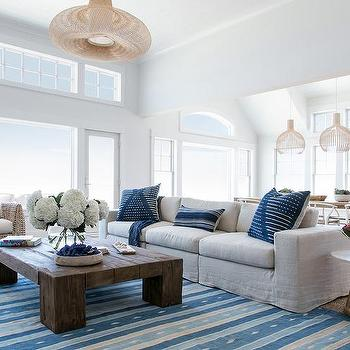 Blue Striped Rug On Gray Bound Sisal