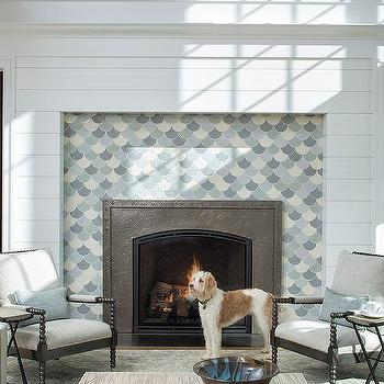 Blue And Gray Fireplace Tiles Design Ideas