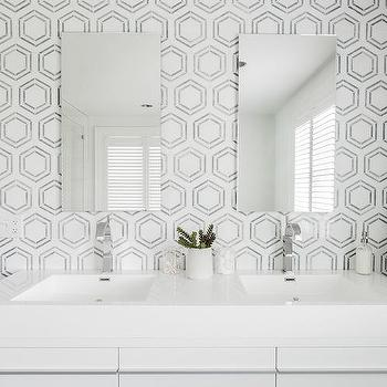 White And Silver Mosaic Hex Backsplash Tiles Design Ideas