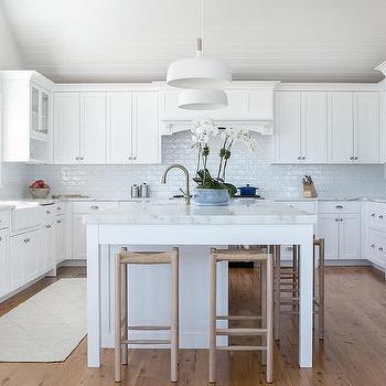 Glazed White Brick Tile Backsplash Design Ideas