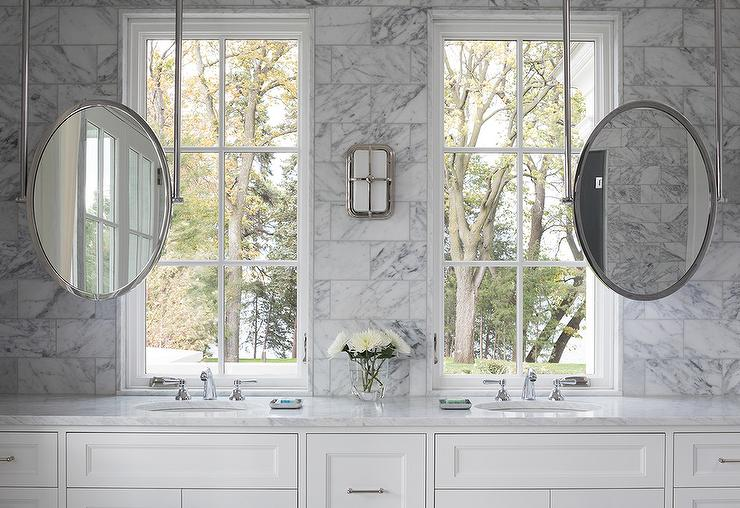 Sink Vanity Mirrors Hung From The Ceiling Transitional