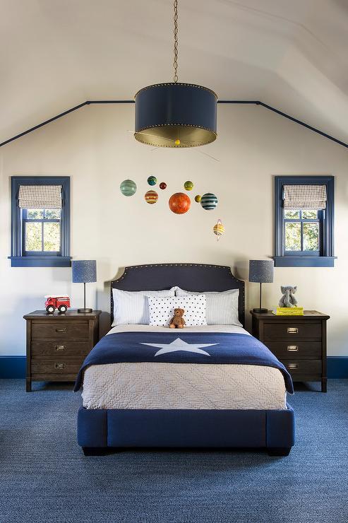 Blue Kid Headboard With Brown Nightstands