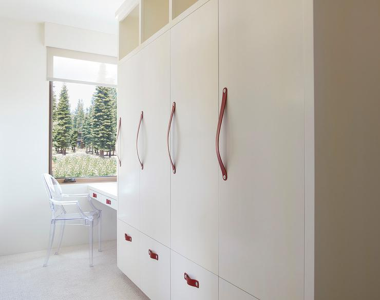 Cream Mudroom Locker Cabinets With Red Leather Pulls