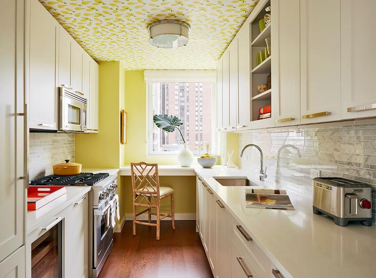 Serena And Lily Lemons Wallpaper On Kitchen Ceiling Transitional Kitchen