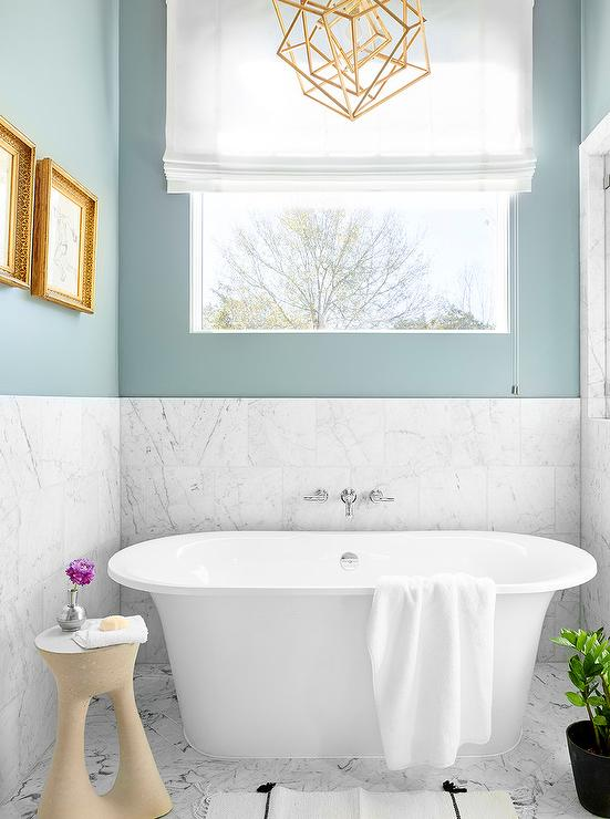 spa blue bathroom walls with white marble tiles - White Marble Tile Bathroom