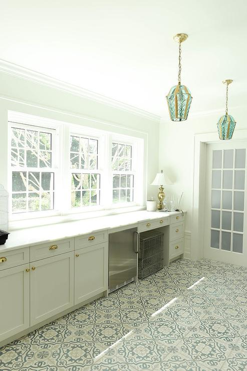 Gray And Blue Mosaic Mudroom Floor Tiles Transitional