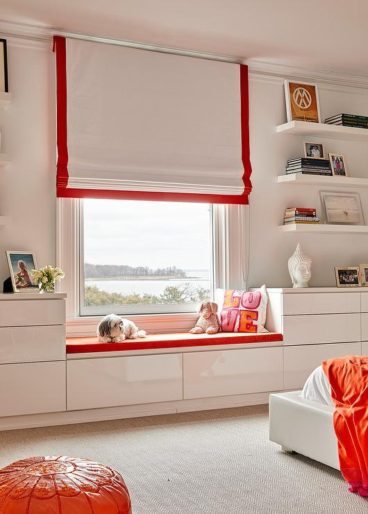 Awesome Orange Grosgrain Roman Shade Over Window Seat Contemporary Ocoug Best Dining Table And Chair Ideas Images Ocougorg
