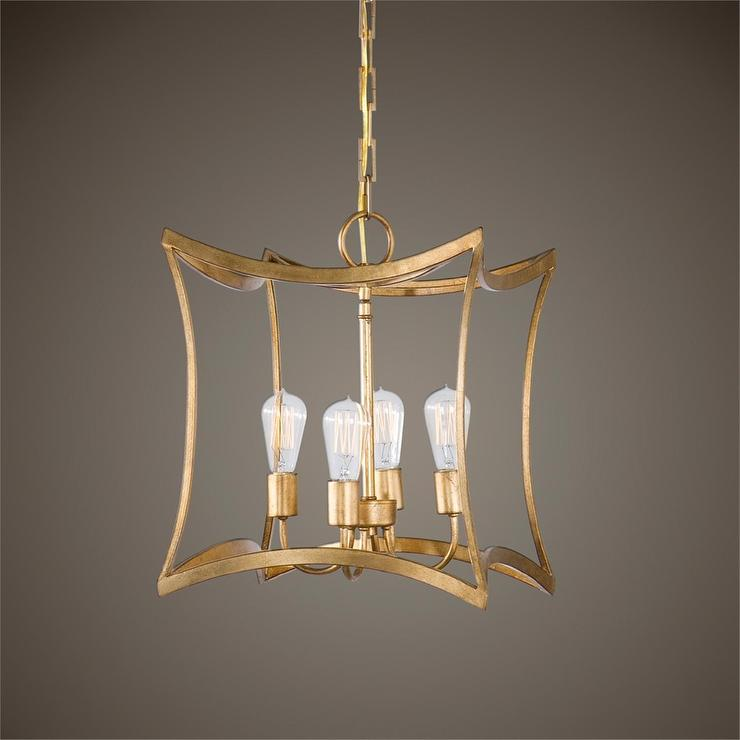 Gold Curved Cube Pendant Light Fixture