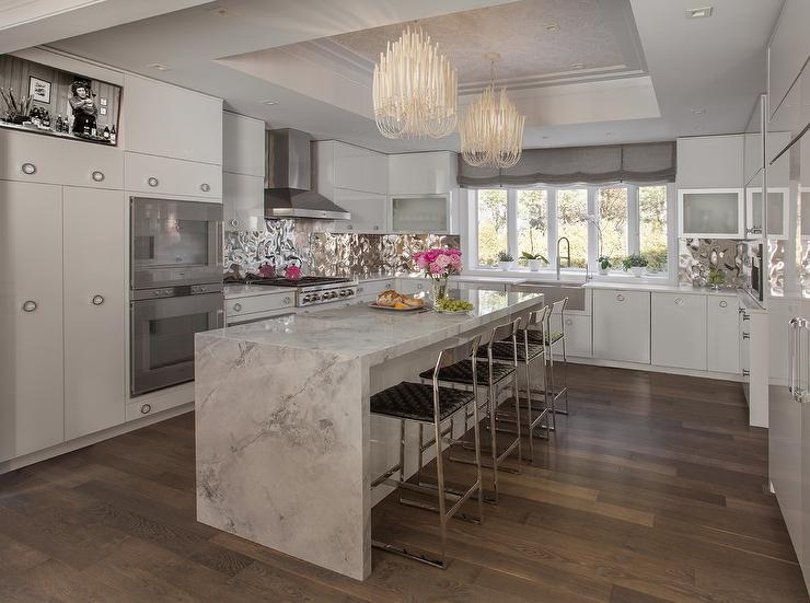 Light Gray Kitchen Cabinets With Hammered Stainless Steel
