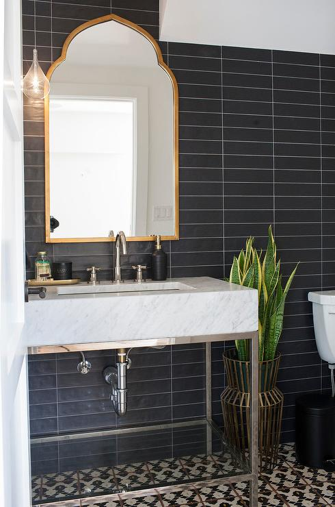 Powder Room With Black And White Chevron Tiles