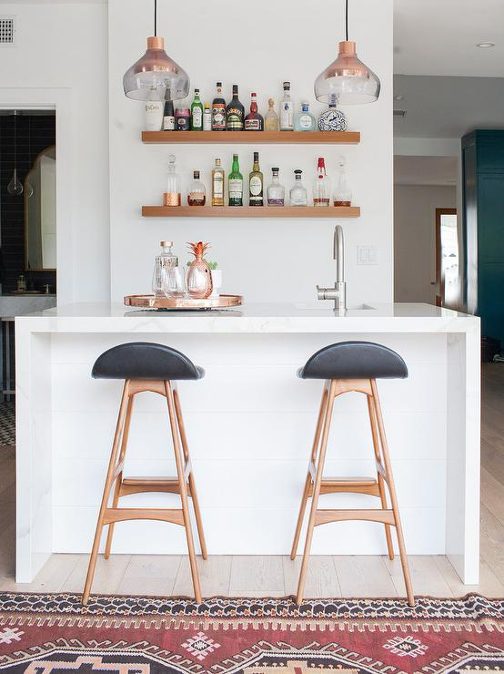 Awe Inspiring Marble Waterfall Bar Island With Low Back Black Barstools Andrewgaddart Wooden Chair Designs For Living Room Andrewgaddartcom