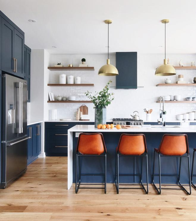 Kitchen Art The Range: Blue Range Hood With White Glazed Backsplash Tiles