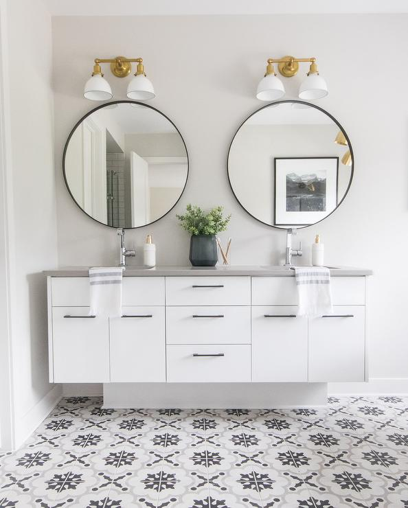 Shiplap Bathroom Wall With Stained Wood Dual Washstand