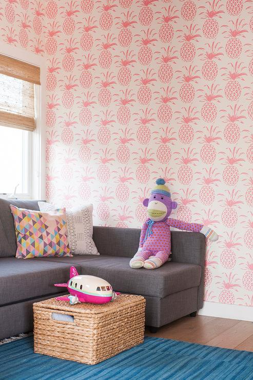 Playroom with Pink Pineapple Print Wallpaper - Contemporary - Living ...