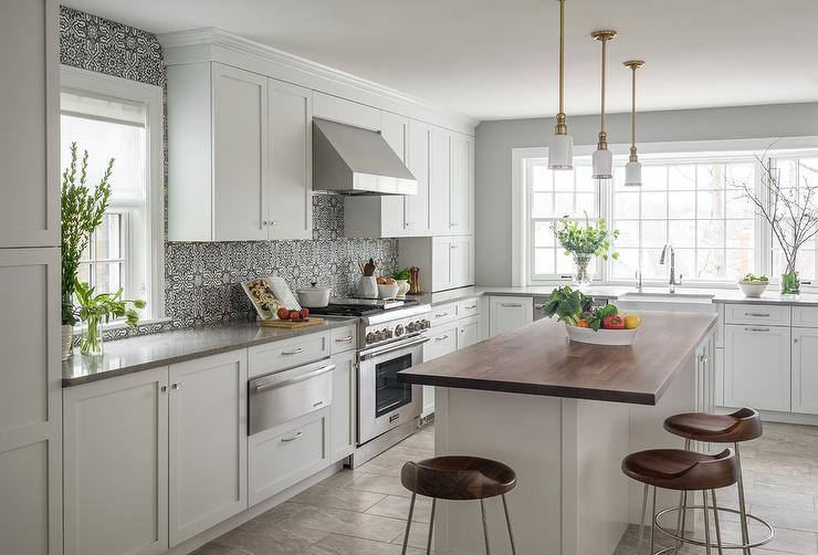 Walnut Center Island With Honed Gray And White Marble