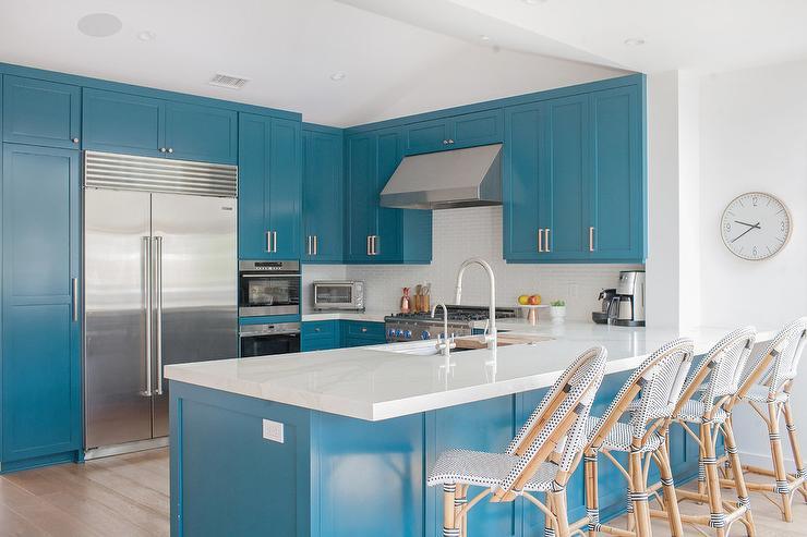 blue kitchen colors. Tropical Island Blue Kitchen Colors  Transitional