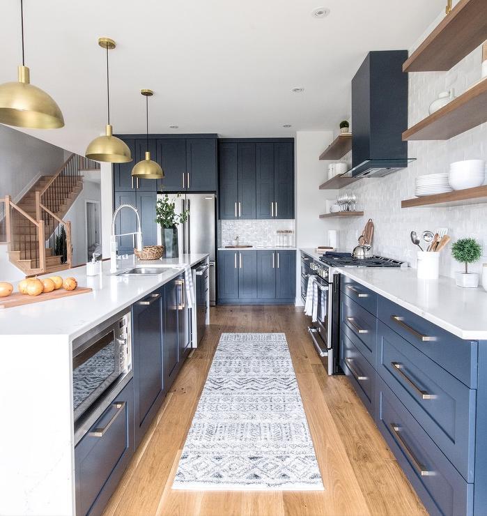 Superb Blue Shaker Kitchen Drawers Under Walnut Floating Shelves