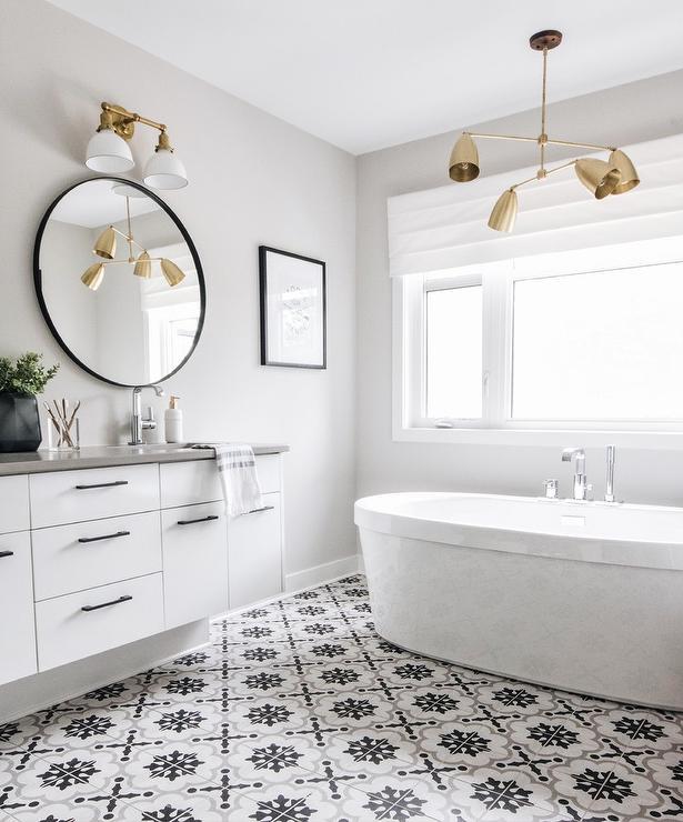 Horizontal Thin Light Gray Bathroom Wall Tiles
