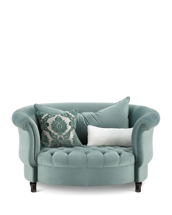 Dandy Teal Tufted Leather Accent Chair