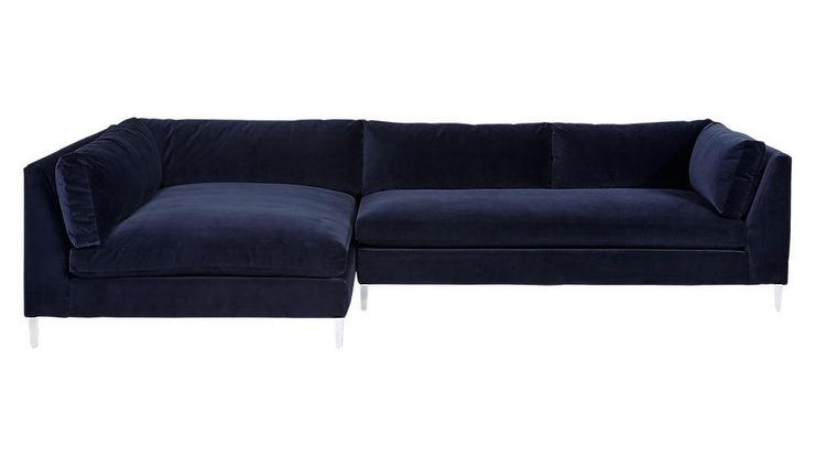 Fantastic Decker 2 Piece Blue Velvet Sectional Sofa Short Links Chair Design For Home Short Linksinfo