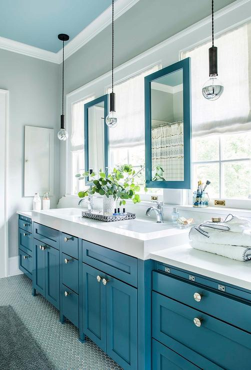 Island Blue Bath Vanity Cabinets With Aqua Blue Hex Floor Tiles