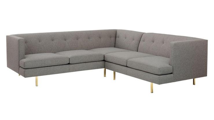 Avec 2 Piece Gray Tufted Brass Sectional Sofa