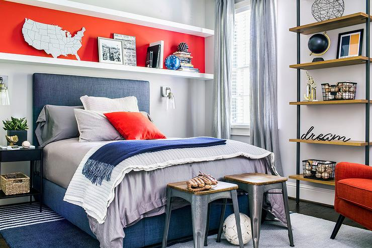 boy bedroom colors. Orange and Blue Boy Room with Long Shelf Over Bed  Transitional