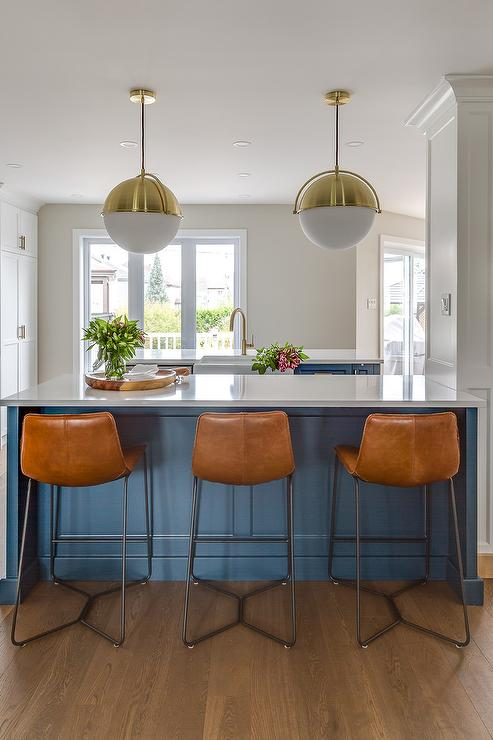Blue Island With White Glass And Brass Globe Lights Transitional - Lights to hang over kitchen island