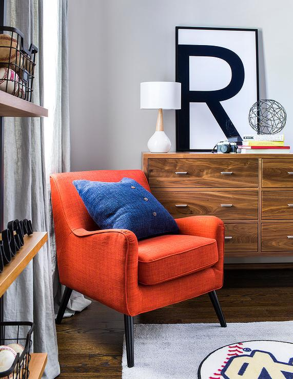 Magnificent Orange Chair With Mid Century Modern Dresser Transitional Gmtry Best Dining Table And Chair Ideas Images Gmtryco