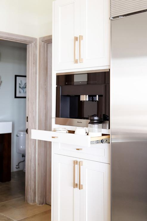 Hidden Coffee Maker And Microwave In Pantry Cabinets With
